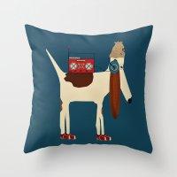 aelwen Throw Pillows featuring bootleg beagle  by bri.buckley