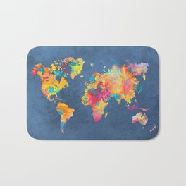 world map blue 2061 #map #worldmap Bath Mat