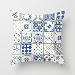 Blue Ceramic Tiles Throw Pillow