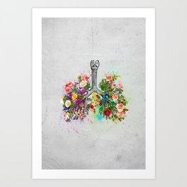 Flowers Lungs Skeleton Watercolor Art Print