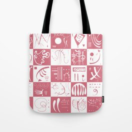 Kandinsky - White and Rose Pattern - Abstract Art Tote Bag