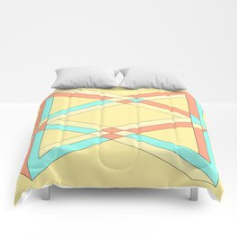 Double impossible triangles crossing over yellow. Comforters