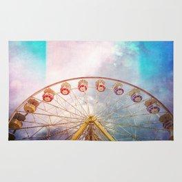 Ferris Wheel of Dreams - ferris wheel photo, carnival fair retro, colorful, surreal dreamy whimsical Rug