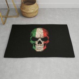 Dark Skull with Flag of Italy Rug