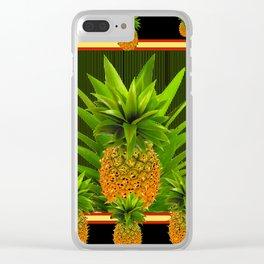 MODERN ART GREEN-BLACK  HAWAIIAN PINEAPPLE ART Clear iPhone Case