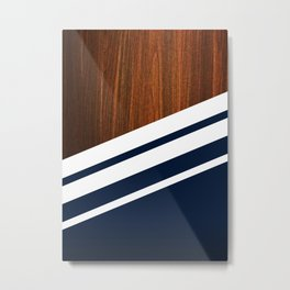 Wooden Navy Metal Print
