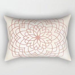 Mandala Floral Geometry Rose Gold on Cream Rectangular Pillow