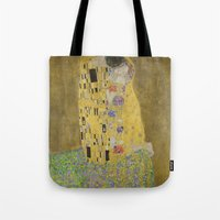 gustav klimt Tote Bags featuring Gustav Klimt The Kiss by Artlala for MSF Doctors Without Borders