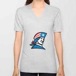 American Patriot Head USA Flag Mascot Unisex V-Neck