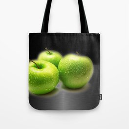 Wet Green Apples on Metallic Background Tote Bag