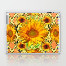 Western Style Lilac Color Golden Sunflowers Gold Pattern Art Laptop & iPad Skin