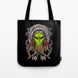 Native American Alien Indian Chief Headdress Tote Bag