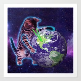 Cat destroying the world with eye laser Art Print