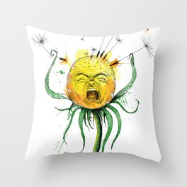 Angry Flower Whimsical Art Throw Pillow