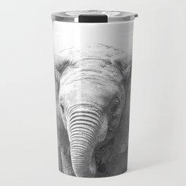 Black and White Baby Elephant Travel Mug