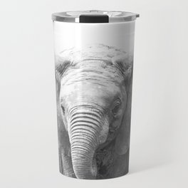 Black and White Baby Elephant Travel Mug