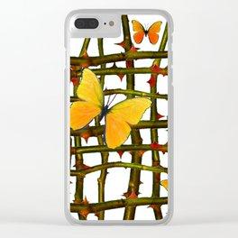 GOLDEN BUTTERFLIES THORN BRANCHES TRELLIS  PATTERN Clear iPhone Case