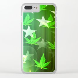 Patriotic Stars and Cannabis Design Clear iPhone Case