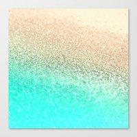 aqua Canvas Prints featuring GOLD AQUA by Monika Strigel