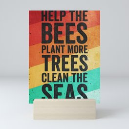 Help The Bees Retro Mini Art Print