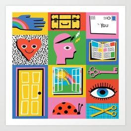 Open Me - heart, hand, letter, book, key, eye, door, window - kids art Art Print