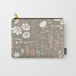 Seamless pattern design with hand drawn flowers and floral elements Carry-All Pouch
