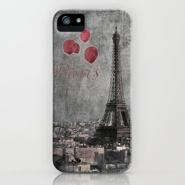 I love Paris {bw red balloons iPhone Case