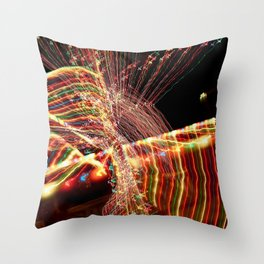 Abstract Xmas Lights Sculpting Throw Pillow
