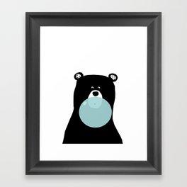 Bear with gum art, modern bear, woodland art, baby bear, peekaboo bear, nursery, kids,children,bear Framed Art Print