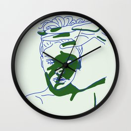 shadow of hand (blue and green) Wall Clock