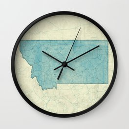 Montana State Map Blue Vintage Wall Clock