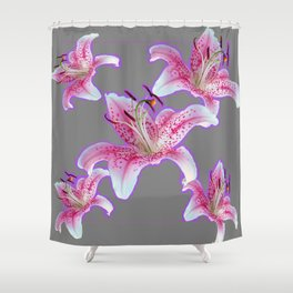 PURPLE & PINK ASIAN LILIES GREY ART PATTERNS Shower Curtain
