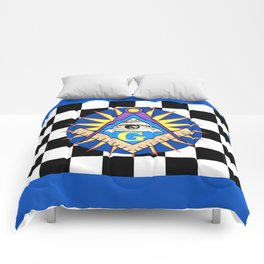 Masonic Square & Compass On Blue Disc Comforters