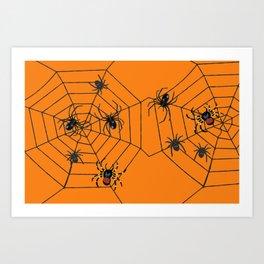 big Spiders in two cobweb Art Print