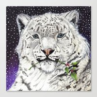 snow leopard Canvas Prints featuring Snow Leopard by Shelli Graham