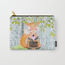The little Fox- Woodland Friends- Watercolor Illustration Carry-All Pouch
