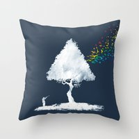hunting Throw Pillows featuring colourful hunting by Steven Toang