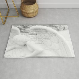 Guardian Angel Prayer | White Angel | Religious Art | Baptism | First Communion Rug