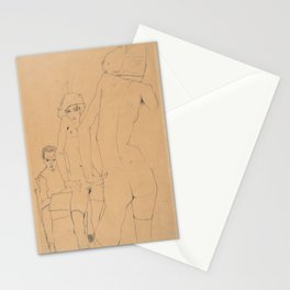 Egon Schiele - Schiele with Nude Model before the Mirror Stationery Cards