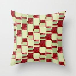 Modern Horizontal Stripe Pattern Watercolor Red Green Lime Throw Pillow