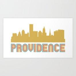 Vintage Style Providence Rhode Island Skyline Art Print