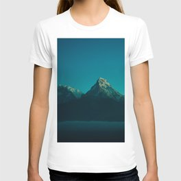 Magical Blue Mountains Star Night Sky Ombre Sunset T-shirt