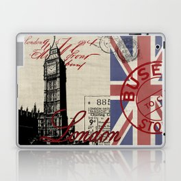 London Great Britain Big Ben Flag Collage Laptop & iPad Skin