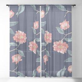 Chrysanthemum Navy Wallpaper Sheer Curtain