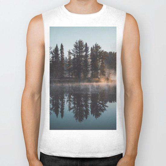 Foggy lake  #society6 Biker Tank