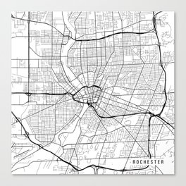 Rochester Map, USA - Black and White Canvas Print