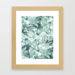 Marble Mist Green Grey Framed Art Print
