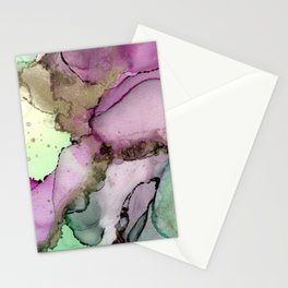 Green Window      Alcohol Ink Painting Stationery Cards