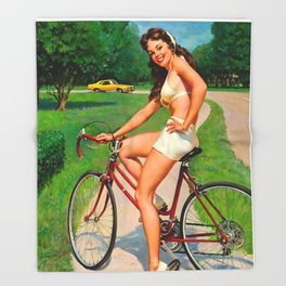 Pin Up Girl and Bicycle Retro Vintage Art Throw Blanket