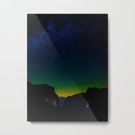 Starry Night Sky Stars Landscape Silhouette Colorful Green Turquoise Sky Ombre Metal Print
